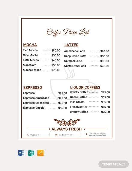 coffee shop price list