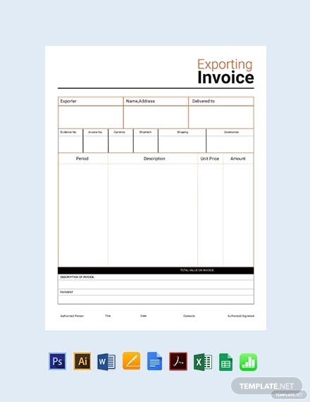 commercial export invoice sample