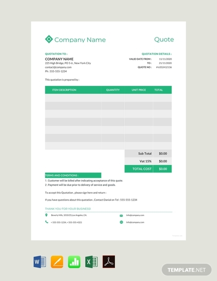 company quotation format sample