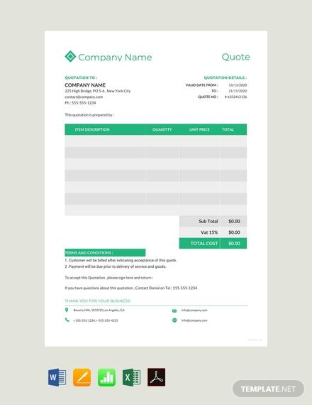 company quotation format sample