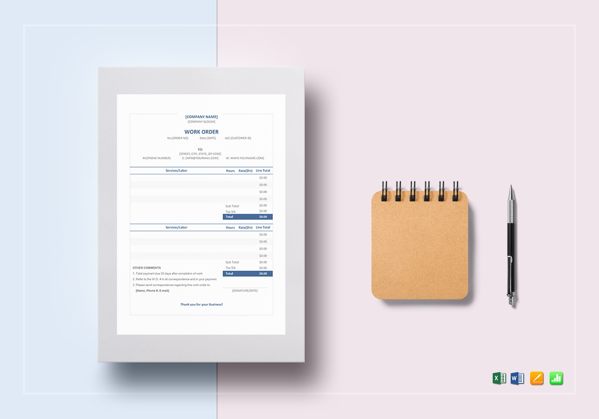 company work order template