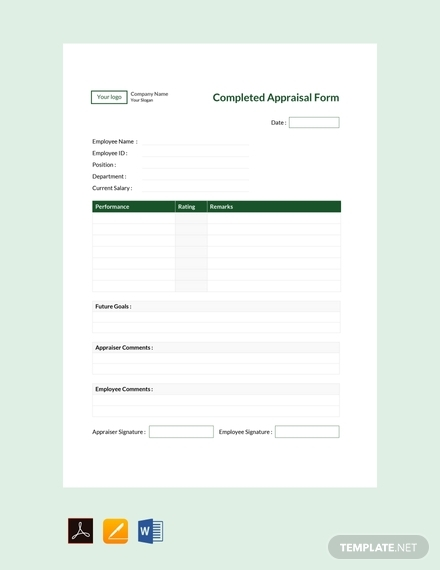 completed appraisal form