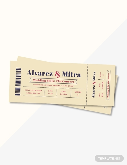 concert ticket wedding invitation