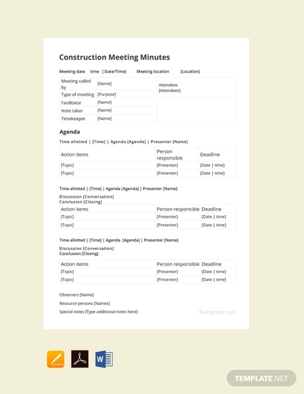 construction meeting minutes