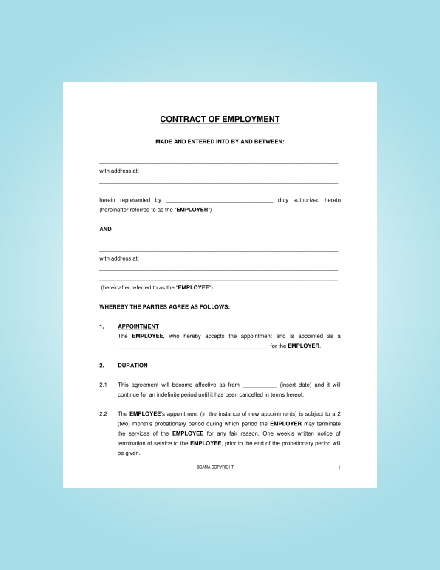 contract of employement
