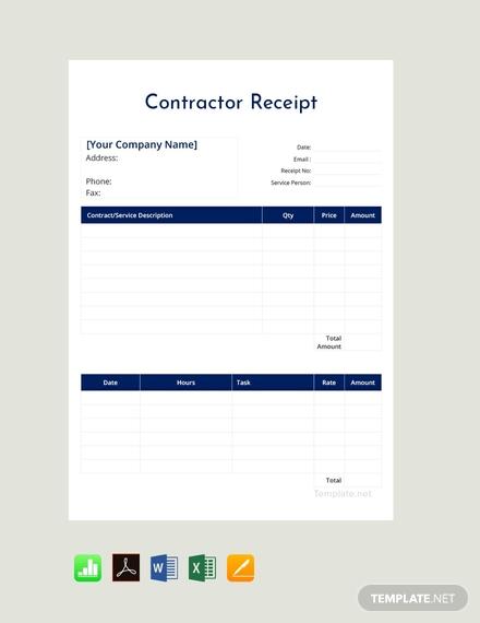 contractor receipt template