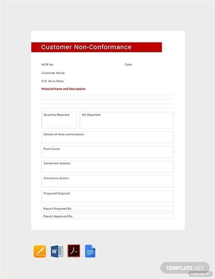 customer non conformance report
