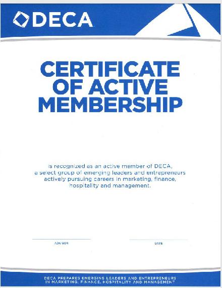 deca membership certificate