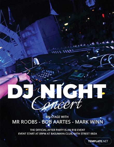 dj night concert flyer