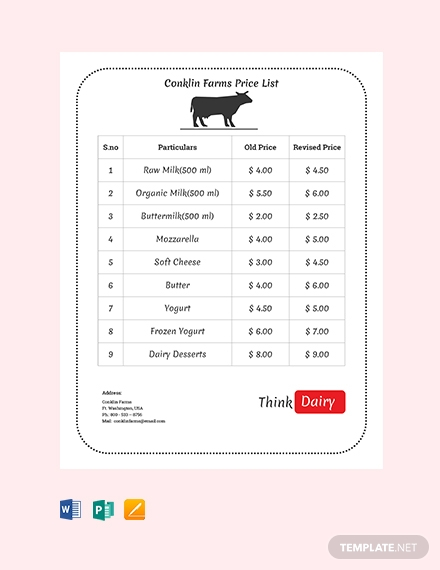 dairy farm price list