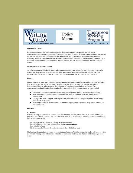 duke university policy memo