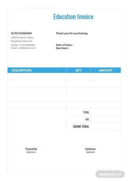 education invoice template