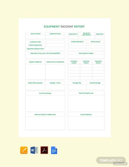 equipment incident report