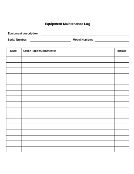 equipment maintenance log sheet