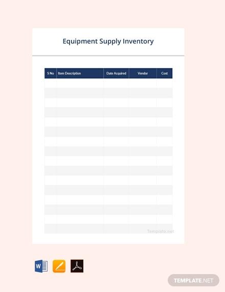 equipment supply inventory