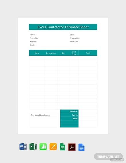 excel contractor estimate sheet