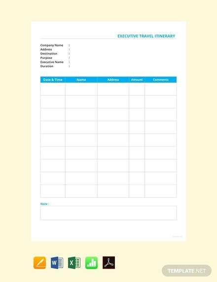 executive travel itinerary