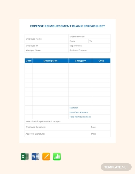 expense reimbursement blank spreadsheet