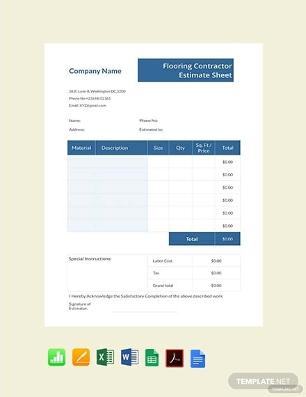 flooring contractor estimate sheet
