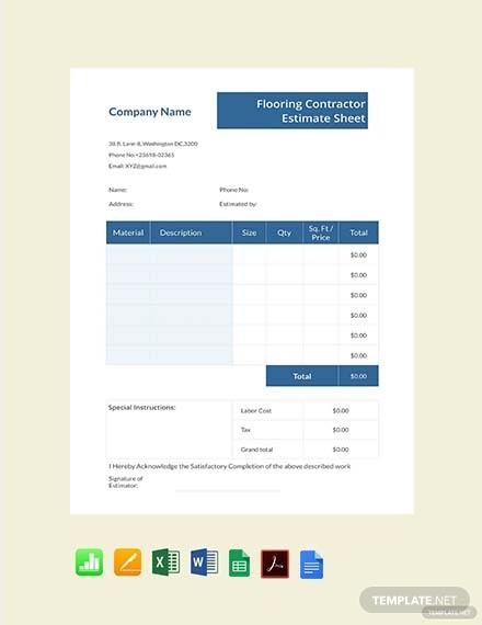 flooring contractor estimate sheet2