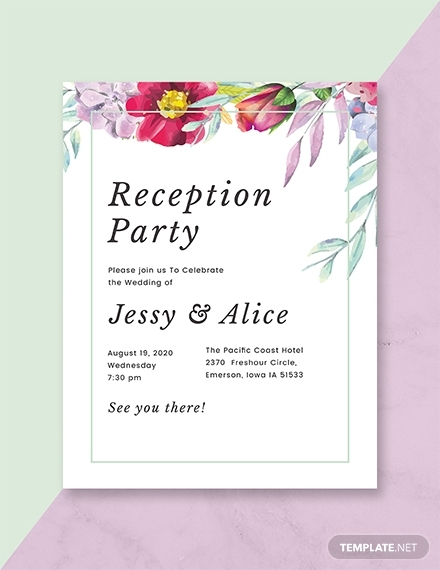 floral wedding reception program