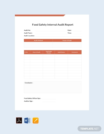 food safety internal audit report template