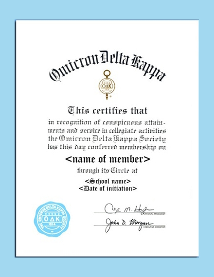 fraternity membership certificate