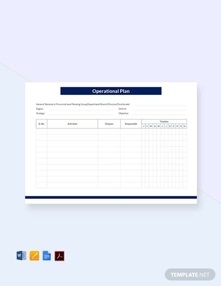 free blank operational plan template