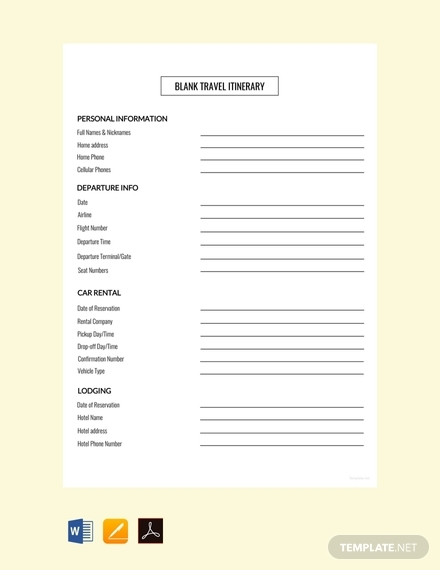 free blank travel itinerary template