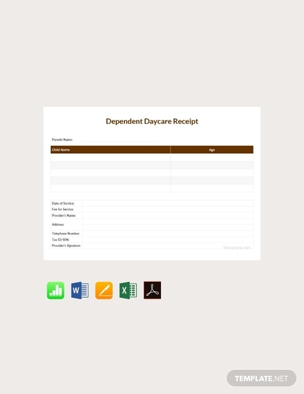 free dependent daycare receipt template