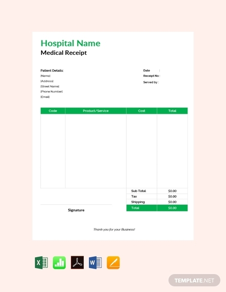 free medical receipt design