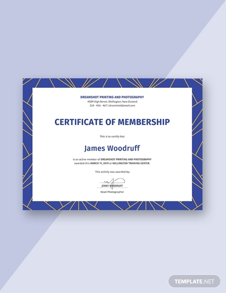 free membership certificate sample