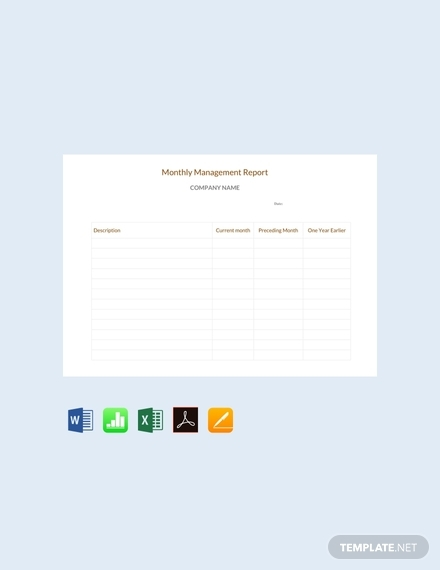 free monthly management report sample