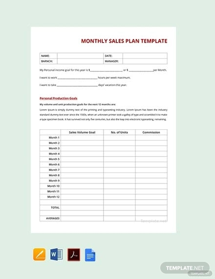 free monthly sales plan template