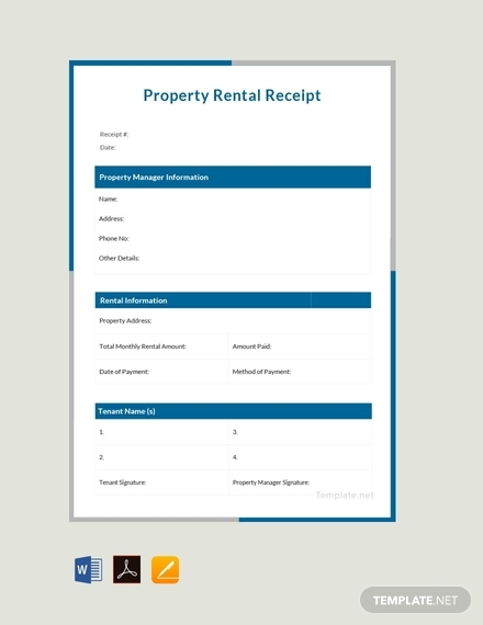 free property rent receipt design