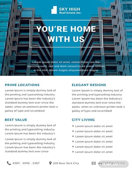 free real estate datasheet sample