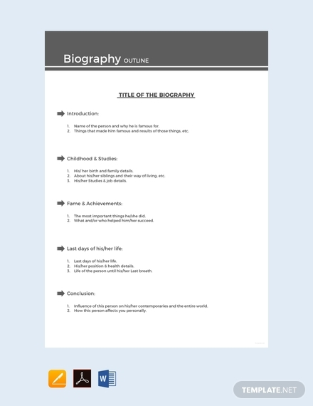 free sample biography outline design
