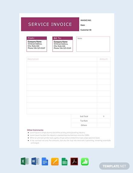 free service invoice sample
