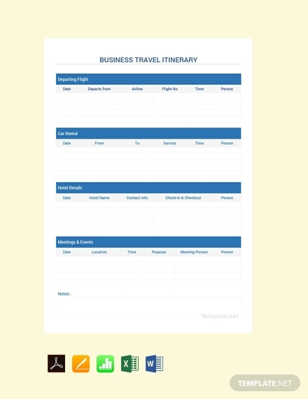 free simple business travel itinerary sample