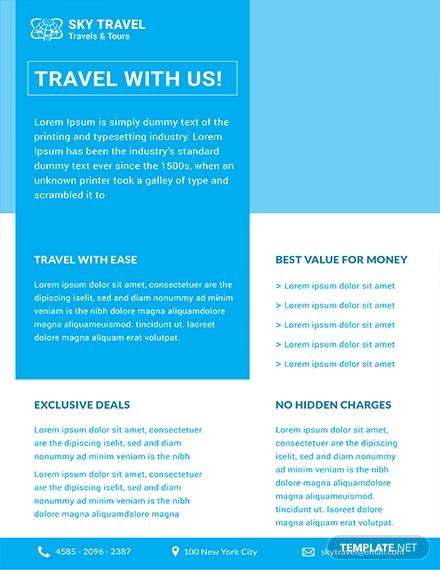 free travel datasheet sample