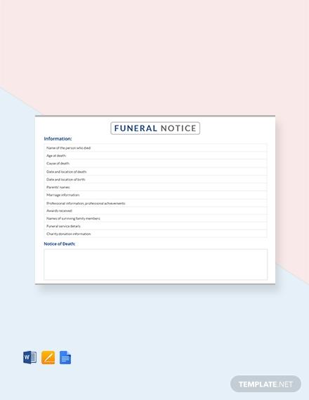 funeral notice