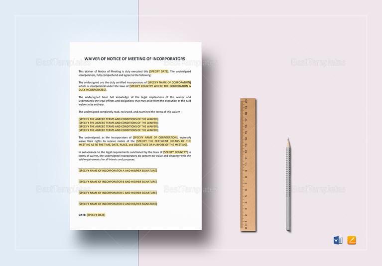 general waiver of notice meeting of incorporators