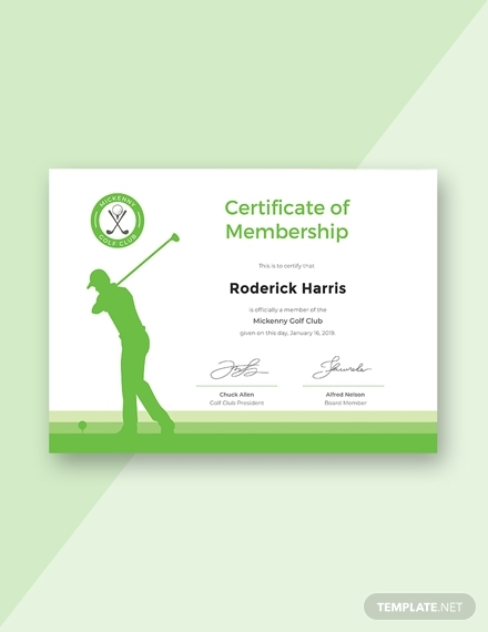 golf club membership certificate design