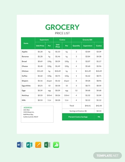 grocery shop price list