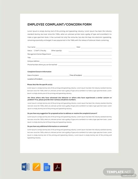 hr employee concern form