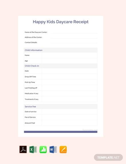 happy kids daycare receipt