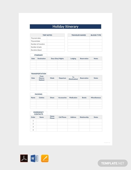 holiday itinerary template sample