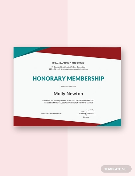honorary membership certificate sample