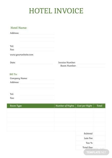 hotel invoice sample