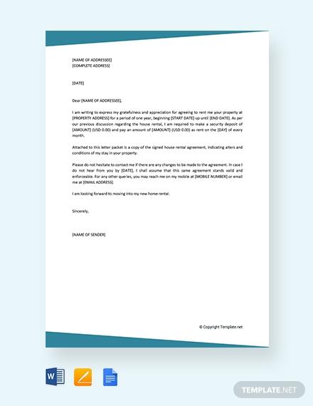 house rental agreement letter